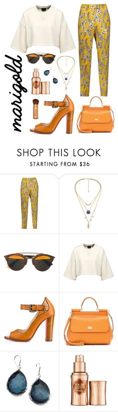 """marigold & blue"" by lanagur on Polyvore featuring мода, Oscar de la Renta, Christian Dior, Christian Louboutin, Dolce&Gabbana, Ippolita, Benefit и Stila"