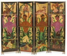 Paravent « Les Faunes », André Mare (1887-1932), peintre, Compagnie des Arts français, décorateur, Paris, vers 1920