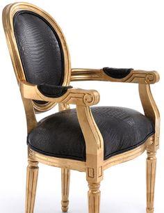 Muebles QUADRATURA arquitectos:  Sillón Louis gold - Sillas y Sillones Vintage - Muebles Vintage