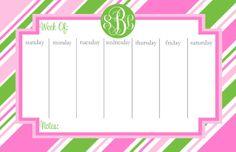 Monogrammed Weekly Desk Calendar Personalized by PinkWasabiInk, $35.00