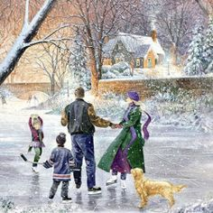 """Winter's Gleam - Ice Dancer"" - by Douglas Laird Christmas Scenes, Christmas Pictures, Winter Christmas, Snow Scenes, Winter Scenes, Skating Pictures, Pintura Exterior, Decoupage, Christmas Artwork"