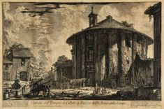 Giovanni Battista Piranesi (1720-1778) - Veduta del Tempio di Cibele a Piazza della Bocca della Vintage Wall Art, Vintage Walls, Vintage Drawing, Fine Art Prints, Framed Prints, Canvas Prints, Italian Artist, Historical Maps, Heritage Image