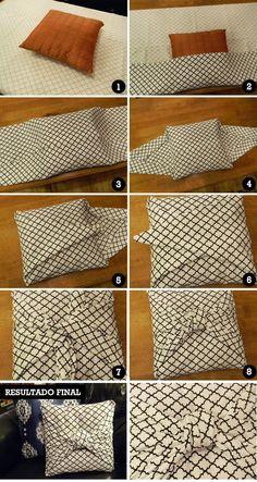 No sew pillow/cushion cover Sewing Pillows, Diy Pillows, Cushions, Throw Pillows, Diy Cape, Sewing Hacks, Sewing Projects, Fun Projects, No Sew Pillow Covers