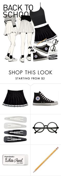 """Cool school"" by irishills ❤ liked on Polyvore featuring Converse, Forever 21, Retrò, Paper Mate, Topshop, skirt, converse, sneakers, schoolgirl and miniskirts"