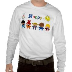 BUY HAPPY T-SHIRTS - TOPS - MENSWEAR - FOR DAD - HAPPY CHILDREN AND HAPPY ADULTS - ALL COLORS WELCOME!
