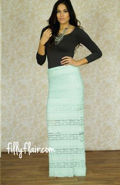 Sweet Dreams Lace Maxi Skirt in Mint - This lace maxi is just want you need for spring! It would make the perfect Easter dress, get yours at fillyflair.com!