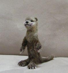 OOAK , Needle Felted Miniature Otter