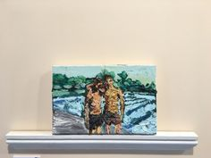 SAM SAMIEE - The fragile situation of two canvases not attached to each other 2014olie op doek met hout, 30 x 66 cm