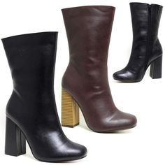 Features : FEATURED BLOCK HEEL WITH SIDE ZIP FASTENER. Material : LONG LASTING SYNTHETIC LEATHER UPPER. | eBay!