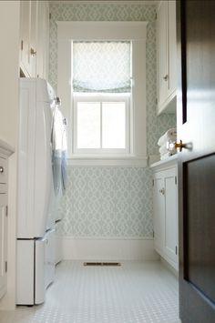 Laundry Room Design. Great Laundry Room. #LaundryRoom #HomeDecor #Wallpaper Wallpaper and Fabric: Spring Fret Traditional Lattice in Aqua Blue Green Cream.