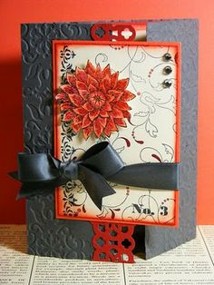 This is a stunning card.....the orange and gray color scheme is just so pleasing to the eye!  I would love to get this card from someone!  Heck......maybe myself!