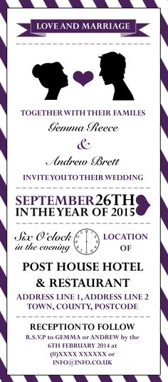 Wedding Reception Invitation designed by me at Nic's Designs.