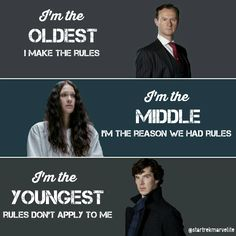 Nicely done, except that Sherlock is the middle child and Eurus is the youngest, but the words still make sense either way