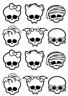 Monster High Printable - decorate your own skull? Tortas Monster High, Cumple Monster High, Monster High Cakes, Monster High Birthday, Monster High Party, Monster High Dolls, Ever After High, Personajes Monster High, Stencils