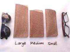A strong leather glasses case suitable for spectacles and sunglasses. A perfect gift for your bespectacled friend or yourself! There are three sizes and three types of leather to choose from: Inside size (measure your glasses when folded up): Small - Leather Glasses Case, Folded Up, Leather Design, Natural Leather, Leather Working, Sunglasses Case, Make It Yourself, Handmade, Gifts