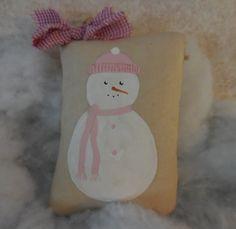 Primitive Folk Art Baby Snowman Pillow Tuck Winter Christmas Decor by auntiemeowsprims on Etsy