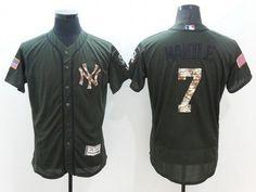 Men's New York Yankees #7 Mickey Mantle Retired Green Salute To Service 2016 Flexbase Majestic Baseball Jersey