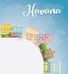 La Habana Skyline con color Edificio Cielo azul y espacio de la copia. Ilustración vectorial