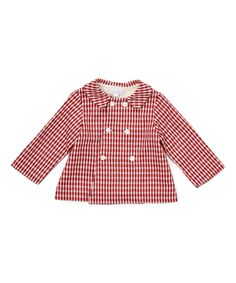Look at this Red & White Plaid Double-Breasted Swing Coat - Infant on #zulily today!
