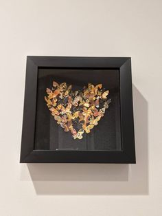 """Black and Gold 3D Butterfly Art, Heart, Wall Art, Home Decor, Japanese Rice Paper, Origami Art, Unique gift, 7""""x7""""x1, Free Shipping Japanese Origami, Japanese Rice, Heart Wall Art, Butterfly Art, Paper Dimensions, Origami Paper, Rice Paper, Paper Art, Framed Art"""