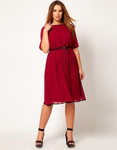 Wine Color ASOS CURVE Exclusive Midi Dress With Contrast Piping