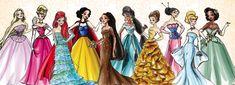 Disney Rapunzel, Aurora, Ariel, Schneewittchen, Pocahontas, Jasmin, Bell, Mulan, Cinderella und Tiana