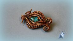 seahorses brooch polymer clay