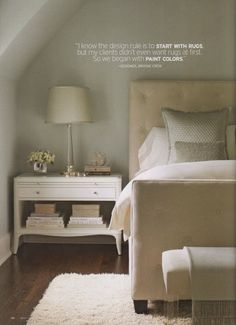 Love the upholstered bed & bedding, nightstand, upholstered bench, wood flooring & textured off white rug, etc. High Street Market: Shades of Gray Next Bedroom, Home Bedroom, Master Bedroom, Bedroom Decor, Bedroom Ideas, Bedroom Alcove, Peaceful Bedroom, Bedroom Designs, Dream Bedroom