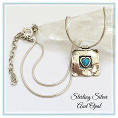 Sterling Silver Artisan Blue Opal Heart Necklace ✨Gorgeous Fine Quality Hammered Sterling Silver With A Blue Opal Cab✨Solid Sterling Silver Chain✨ Shablool Jewelry Necklaces