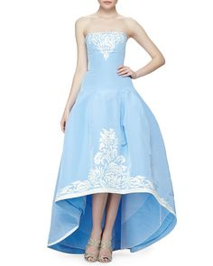 B2WPM Oscar de la Renta Strapless Filigree-Embroidered High-Low Gown, Wedgewood