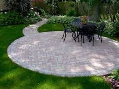Backyard landscaping idea and Stone patio design.