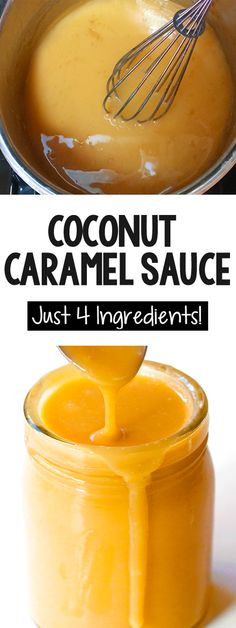 How to make homemade coconut caramel, perfect for topping vegan ice cream or making paleo or gluten free desserts #caramel #vegan #coconutmilk #paleo #diy #dessert #vegandesserts #coconut