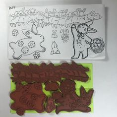 Unmounted Rubber Stamp Set Easter Bunny Rabbit Hare Border Flowers Animal R46 #Unbranded