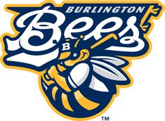 Burlington Bees Primary Logo (2007) - A blue and yellow bee holding a baseball bat below team script in blue and white