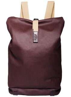 Brooks Canvas & Leather Backpack (Plum) Rugged, versatile roll-top backpack made from water-resistant treated European canvas with vegetable-tanned leather trim.