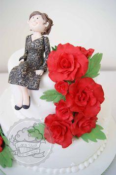 Gumpaste roses and cake topper!
