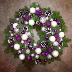 Christmas wreath with baubles & cones