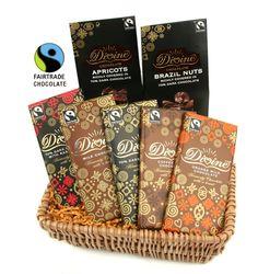Fairtrade Divine Chocolate Gift Set... Divine Chocolate, Chocolate Gifts, New Home Gifts, Fair Trade, Gift Baskets, Milk, Coffee, Sympathy Gift Baskets, Kaffee