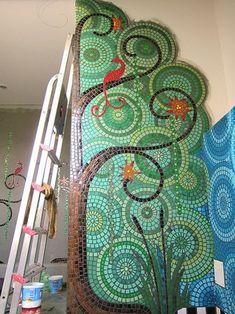 ideas for mosaic wall mural Mosaic Bathroom, Mosaic Wall, Mosaic Glass, Mosaic Tiles, Wall Tiles, Stained Glass, Glass Art, Bathroom Wall, Small Bathroom