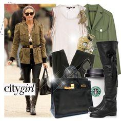 military inspired jacket, black mini, leggings + boots