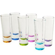 This set of 6 assorted color shot glasses for $19.95 @ Pier 1 would go well with the Impressions Color barware sets available at Bed Bath and Beyond.
