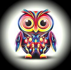 colorful owl paintings - Google Search