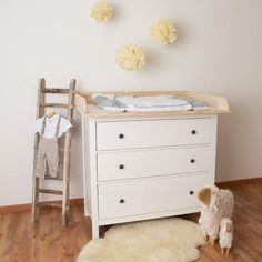 IKEA Hacks That Look Like A Million Bucks Apartment . Nursery With Ikea Hemnes 3 Drawer Chest Transitional . Home and Family Ikea Changing Table, Best Changing Table, Changing Table Topper, Baby Changing Pad, Ikea Hemnes Chest Of Drawers, Ikea Dresser, Dresser Ideas, Baby Dresser, Nursery Dresser