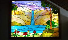 Beautiful mountain stained glass - Denver Colorado