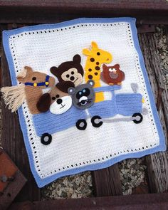 Picture of Critter Caboose Afghan Crochet Pattern will use pic as reference to create my own version Crochet Afghans, Baby Afghans, Baby Blanket Crochet, Baby Blankets, Crochet Blankets, Crochet Hooks, Free Crochet, Knit Crochet, Crochet Girls