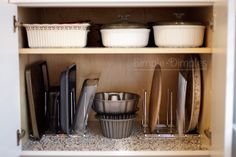 Simple Dimples: Bakeware cabinet organization