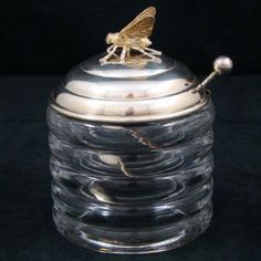 Antique R.  Blackington & Co.  Sterling Silver Glass Honey Jar Figural Bee & Spoon