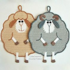 Mr and Mrs Sheep Potholder - $3.50 by Kate of Little Owls Hut / Sheep Part 2 - Animal Crochet Pattern Round Up - Rebeckah's Treasures