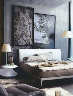 soft grey and brown coloured bedroom