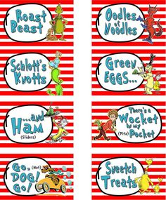 CUSTOMIZED - Food Labels Dr. Suess Cat in the Hat Party Food Labels - Printable